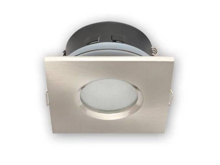 Oprawa halogenowa sufitowa wodoodporna, kwadratowa, stała, odlew, aluminium - satyna