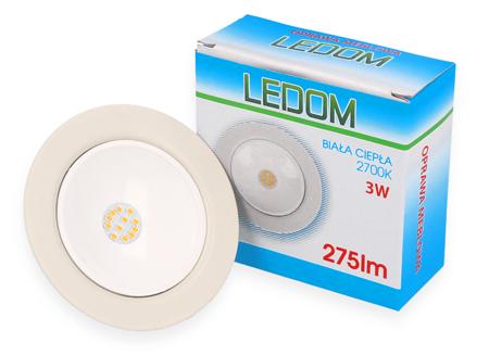 Oprawa meblowa LEDOM okrągła biała 12V DC 3W 275lm 2700K BC 80°