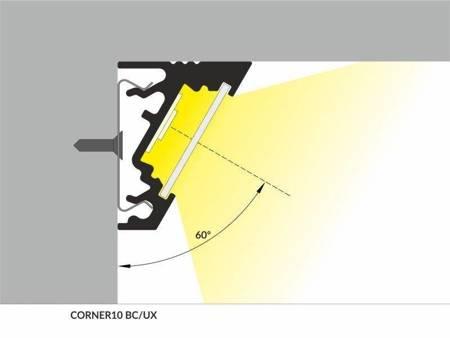 Profil narożny do taśm LED Corner10 BC/UX czarny 2 metry