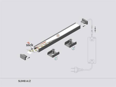Profil nawierzchniowy do taśm LED Slim8 A/Z anodowany 2 metry