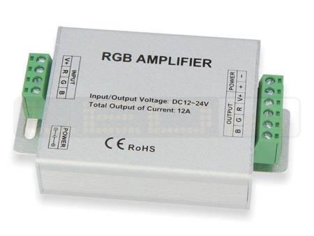 Wzmacniacz sygnału LED RGB  12V~24V 12A (3*4A)