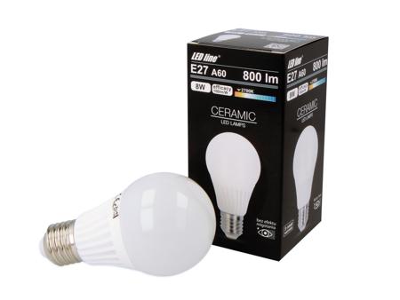 Żarówka LED line E27 170-250V 8W 800LM biała ciepła 2700K A60