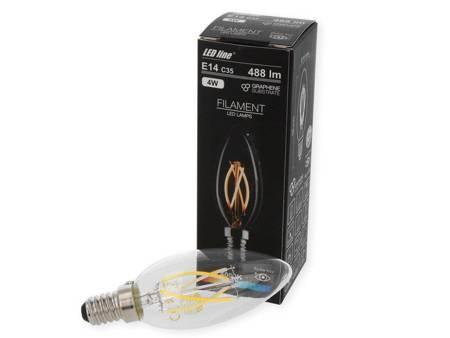 Żarówka LED line FILAMENT E14 C35 180-265V 4W 488lm 4000K biała dzienna