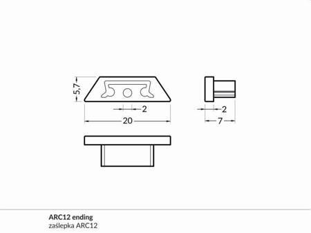 Zaślepka kpl. 2 sztuki szara do profilu elastycznego LED ARC12 płaska