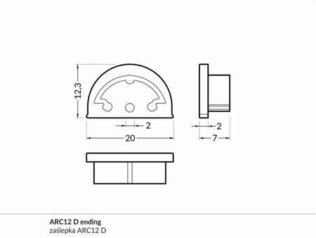 Zaślepka szara kpl. 2 sztuki do profilu elastycznego profilu LED ARC12